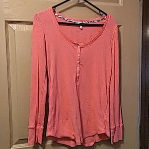 Victoria secret button henley shirt pink M pre own